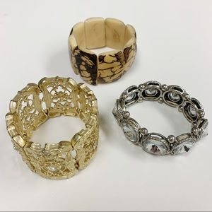 3 statement stretch bracelets